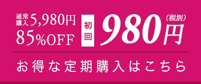 通常購入5,980円 85%OFF 初回980円(税別) お得な定期購入はこちら